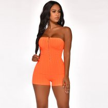 WGW Solid Color Sexy Strapless Tube Zipper Bodycon Rompers BY3259
