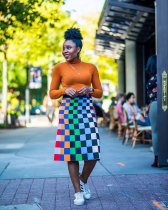 WGW Colored Plaid Print High Waist Midi Skirt FSL037