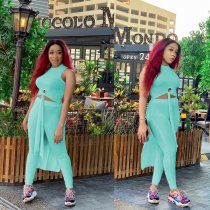 WGW Solid Color High Low Top And Pants Two Piece Suits FSL022