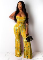 WGW Sexy Printed Strapless Tube One Piece Jumpsuits YIY5063