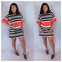 WGW Striped Short Puff Sleeve O Neck Mini Dresses FNN8279