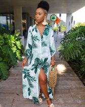 WGW Leaves Print Button Up Long Maxi Shirt Dresses AIL052