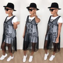 WGW Casual Letter Print T Shirt And Mesh Dress 2 Piece Set LP6177