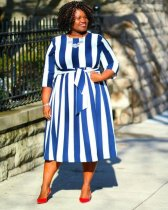 WGW Big Size 4XL Striepd Three Quarter Sleeve Midi Dresses OMF042