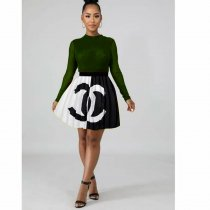 WGW Fashion Color Splice Mini Pleated Skirt BANM\7005