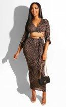 WGW Sexy Leopard Print Deep V Lace Up Long Skirt Sets BS1115
