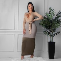 WGW Sexy Color Spliced Long Sleeve Sashes Maxi Dresses CQ5273