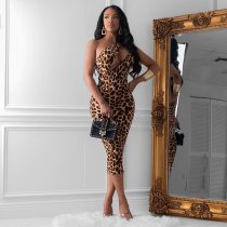WGW Leopard Print Sexy Cut Out Sleeveless Bodycon Midi Dress LUO6231