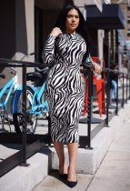 WGW Zebra Stripes Long Sleeve O Neck Midi Dresses QZX6087
