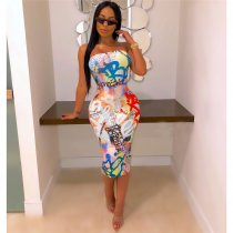 WGW Colorful Letter Print Strapless Wrap Bodycon Tube Dresses ME339
