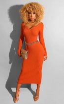 WGW Solid Color V Neck Long Sleeve Maxi Dresses BS1120