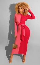 WGW Color Spliced Long Sleeve Sashes Maxi Dresses CQ5276