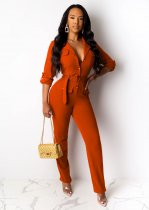 WGW Solid Long Sleeve Notched Neck Button Up Sashes Jumpsuits BS1121