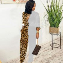WGW Trendy Leopard Print Patchwork Long Sleeve Jumpsuits MEM8232