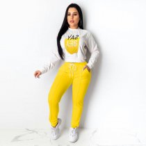 WGW Letter Print Tracksuit Casual Sports Two Piece Sets OJS9146