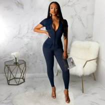 WGW Sexy Long Sleeve Pocket Front Zipper Bodycon Jumpsuits SMR9341