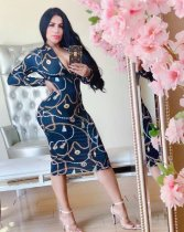 WGW Sexy Chain Print Long Sleeve Slim Midi Dresses QZX6090