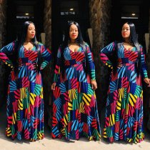 WGW Plus Size 4XL Geometric Print V Neck Long Sleeve Maxi Dress OMF016