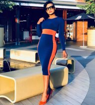 WGW Contrast Color O Neck Long Sleeve Bodycon Midi Dress CL6020