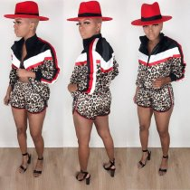 WGW Leopard Print Patchwork Tracksuit Two Piece Shorts Set ML7246