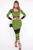 WGW Classic Striped Mesh Patchwork Full Sleeve Long Dresses MYP8889