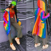 WGW Rainbow Color Hooded Zipper Fulls Sleeve Long Coat OJS9147