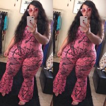 WGW Plus Size 5XL Printed Sleeveless One Piece Jumpsuits YIF1047