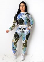 WGW Leaves Print Long Sleeve Casual Two Piece Outfits IV8056