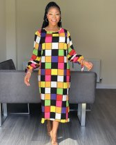 WGW Colorful Plaid Full Sleeve O Neck Long Dresses MYP8890