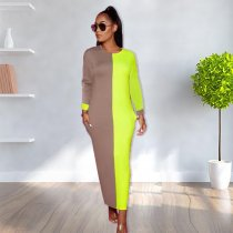 WGW Contrast Color Long Sleeve O Neck Maxi Dresses TK6029