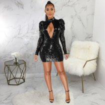 WGW Sexy Sequin Backless Hollow Out Party Club Dresses SMR9375