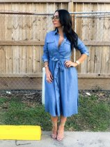 WGW Fashion Long Sleeve Button Up Denim Midi Dresses OY6055