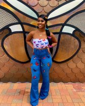 WGW Denim Butterfly Print Flared Pants Long Jeans LA3131