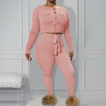 WGW Solid Long Sleeve Top And Pants Two Piece Sets OY6052