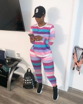 WGW Colorful Stripe Long Sleeve Two Piece Outfits ARM8131