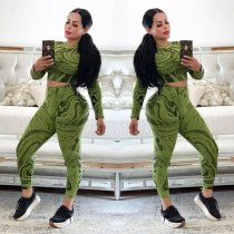 WGW Casual Printed Crop Top Long Pants Two Piece Suits TK6030