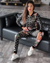 WGW Floral Print Zipper Jacket Top And Pants 2 Piece Suits AWN5052