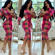 WGW Plaid Print Long Sleeve Zipper Slim Midi Dresses MEI9050
