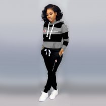 WGW Casual Tracksuit Hooded Long Sleeve Two Piece Suits WSM5111