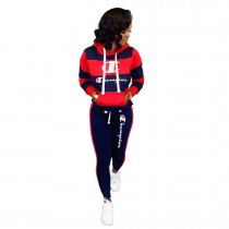 WGW Casual Patchwork Hooded Tracksuit 2 Piece Suits BLX7335