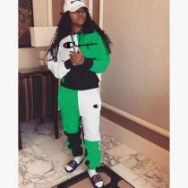 WGW Plus Size Tracksuits Patchwork Hooded Two Piece Set LDS3079