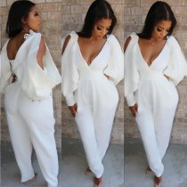 WGW Sexy Deep V Neck Backless One Piece Jumpsuits YH5099