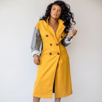 WGW Double Breasted Patchwork Full Sleeve Wool&Blends Long Coats BN9200