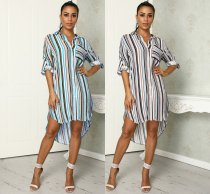 WGW Casual Striped High Low Irregular Long Sleeve Shirt Dress MEI9052