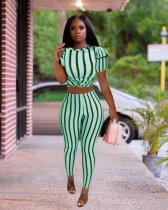WGW Plus Size Striped Short Sleeve Two Piece Pants Suit PIN8431