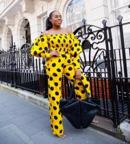 WGW Polka Dot Print Lantern Sleeve Slash Neck 2 Piece Suits WZ8217