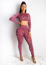 WGW Fashion Printed Long Sleeve Crop Top Pants Bodycon Sets AWN5055