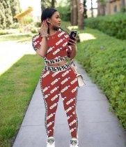 WGW Letter Print Short Sleeve Tops And Pants 2 Piece Outfits LQ5037