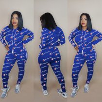 WGW Plus Size Letter Print Hooded Tracksuit 2 Piece Suits HGL1083