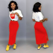 WGW Casual T Shirt And Long Skirt Two Piece Suits LUO3028